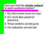 can you find the simple subject in each sentence below