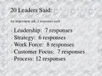 20 leaders said