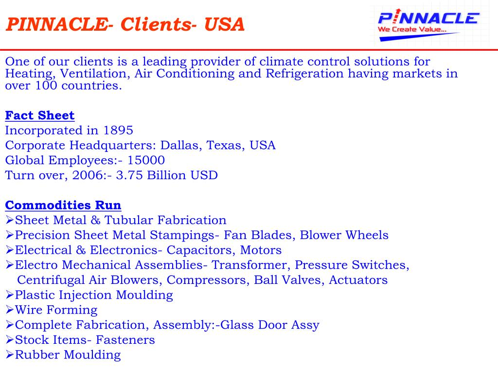 PINNACLE- Clients- USA