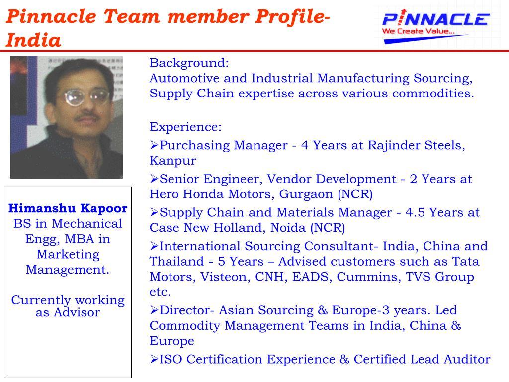 Pinnacle Team member Profile-India