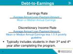 debt to earnings
