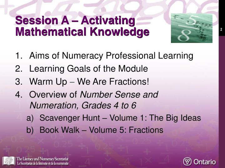 Session a activating mathematical knowledge