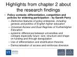 highlights from chapter 2 about the research findings