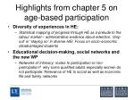 highlights from chapter 5 on age based participation