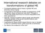 international research debates on transformations of global he