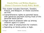 family policy and welfare regimes cluster 3 extensive family policy model