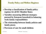 family policy and welfare regimes
