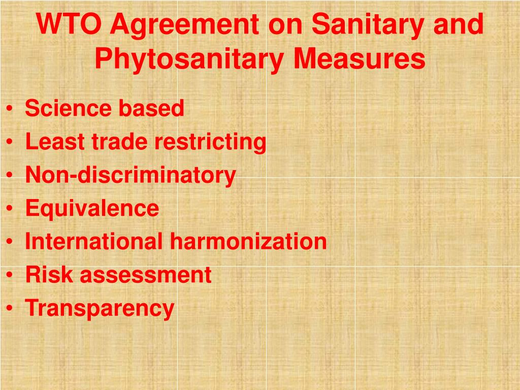 WTO Agreement on Sanitary and Phytosanitary Measures
