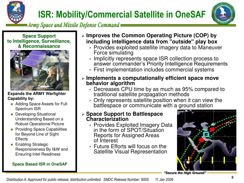 ISR: Mobility/Commercial Satellite in OneSAF