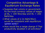 competitive advantage equilibrium exchange rates