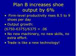plan b increases shoe output by 6