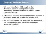 end user training update