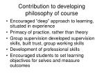 contribution to developing philosophy of course
