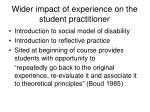 wider impact of experience on the student practitioner