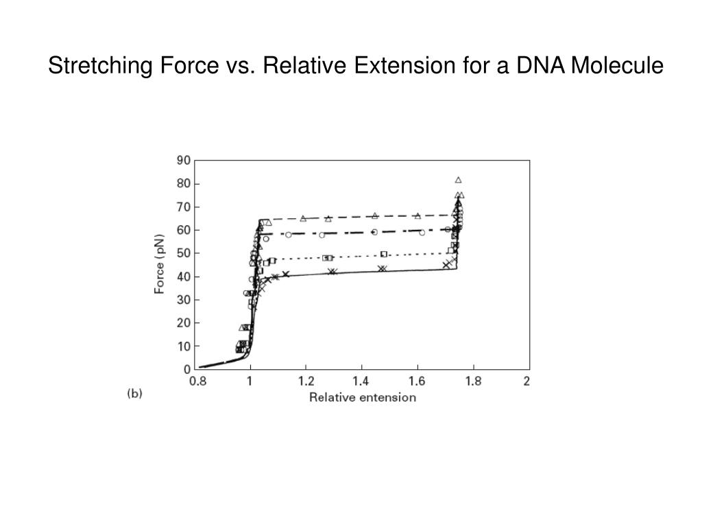 Stretching Force vs. Relative Extension for a DNA Molecule