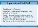 inputs since first draft