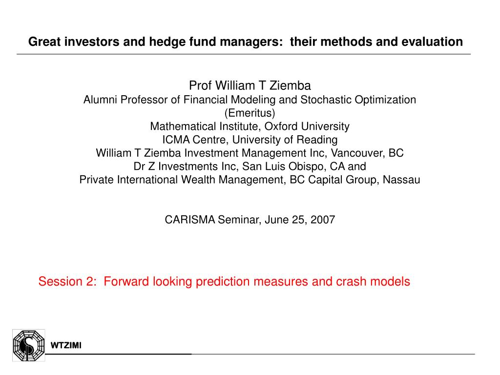great investors and hedge fund managers their methods and evaluation l.