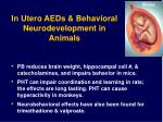 in utero aeds behavioral neurodevelopment in animals