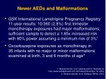 newer aeds and malformations