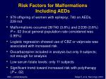 risk factors for malformations including aeds