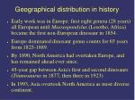 geographical distribution in history