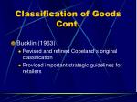 classification of goods cont