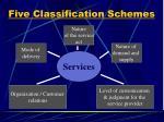 five classification schemes