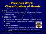 previous work classification of goods