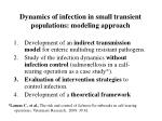 dynamics of infection in small transient populations modeling approach