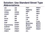 solution use standard street type abbreviations
