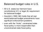 balanced budget rules in u s