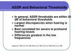 assr and behavioral thresholds