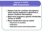 issues in infant abr assessment
