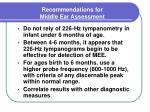 recommendations for middle ear assessment