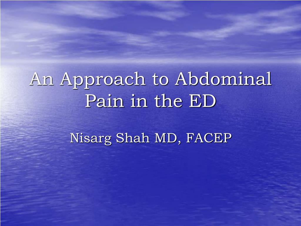 an approach to abdominal pain in the ed l.