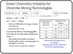 green chemistry initiative for chromite mining technologies