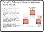 three pot solutions to leather wastes waste waters