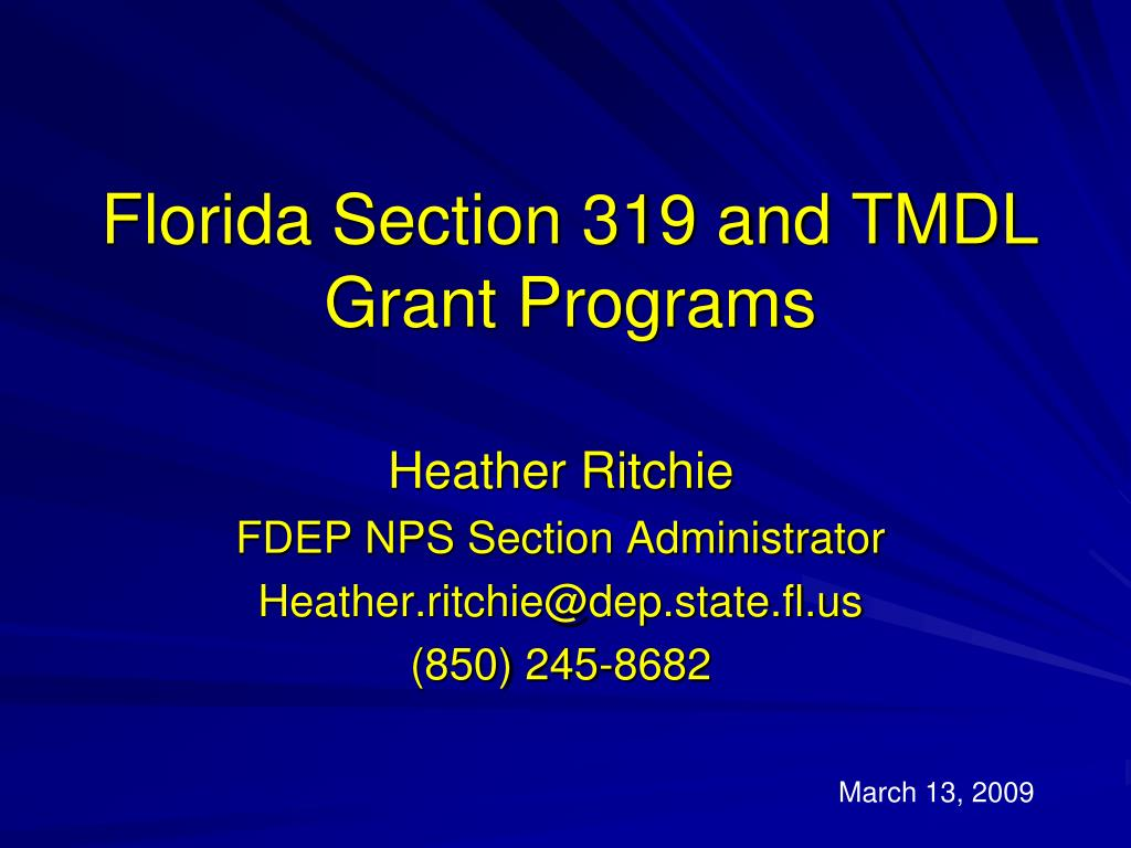 florida section 319 and tmdl grant programs l.
