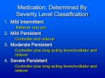 medication determined by severity level classification