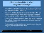 debt sustainability is a key long term challenge