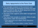 early repayments to the paris club