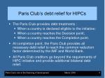 paris club s debt relief for hipcs