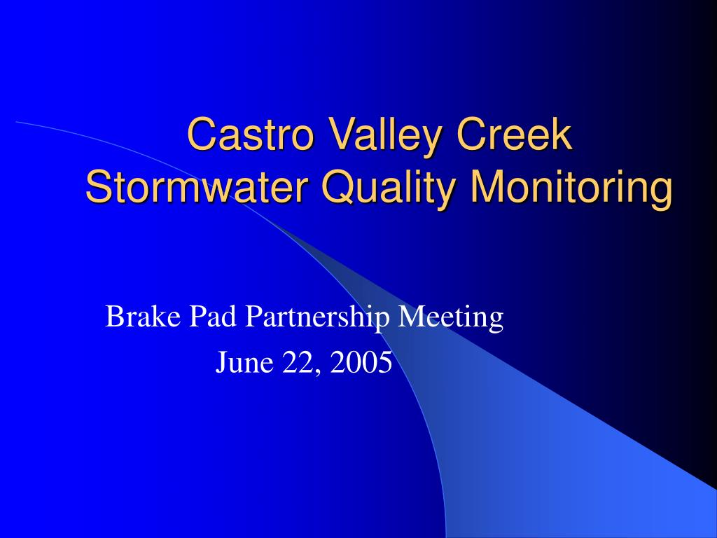 castro valley creek stormwater quality monitoring l.