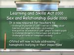 learning and skills act 2000 sex and relationship guide 2000