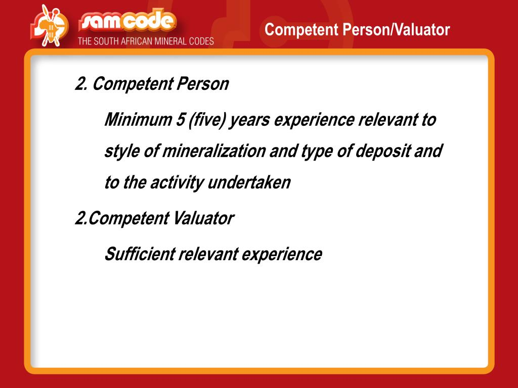 Competent Person/Valuator