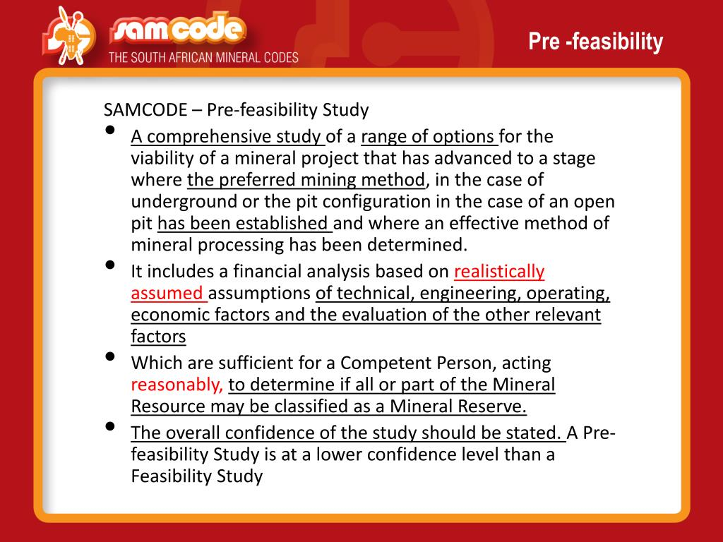 Pre -feasibility