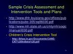 sample crisis assessment and intervention tools and plans
