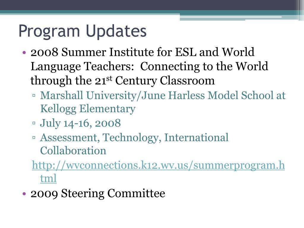 Program Updates