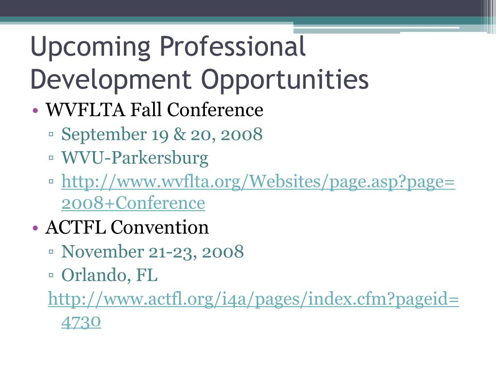 Upcoming Professional Development Opportunities