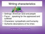 writing characteristics